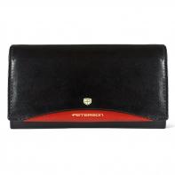 Długi portfel damski Peterson, czarny z czerwoną wstawką