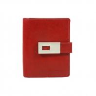 Mały pojemny portfel damski Peterson, czerwony z zapinką