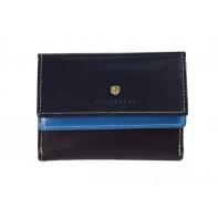 Skórzany pojemny portfel damski Peterson, niebieski + fioletowy + granatowy