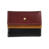 Skórzany pojemny portfel damski Peterson, brązowy + bordowy + czarny