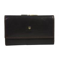 Pojemny skórzany portfel damski Peterson, brązowy