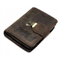 Pojemny portfel damski Always Wild N404H-4 ze skóry nubukowej z zapięciem - CIEMNY BRĄZ