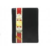 Pionowy skórzany portfel męski marki Peterson, czarny z czerwonym wykończeniem