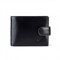 Poziomy portfel męski marki Peterson z zapięciem, czarny z czerwonymi wstawkami