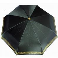 Satynowa automatyczna parasolka damska marki Parasol, złoty labirynt