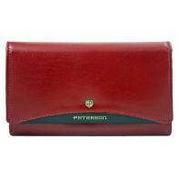 Klasyczny portfel damski Peterson, czerwony z czarną wstawką