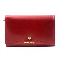 Klasyczny portfel damski Peterson, czerwony