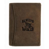 Super wyposażony portfel męski Always Wild ze skóry nubukowej - brązowy