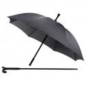 Wyjątkowy męski dwuczęściowy parasol laska - czarny w kratę