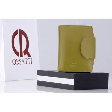 80a30036f9151e Stylowy portfel damski Orsatti D-03H w kolorze jasno zielonym, skóra