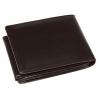Bardzo mały, skórzany portfel Nicolas z zapięciem w środku, brązowy