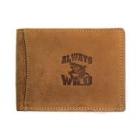 Poziomy męski portfel Always Wild ze skóry nubukowej - jasny brąz