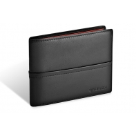 Skórzany męski poziomy portfel Valentini, czarny
