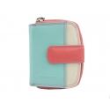 Maleńki kolorowy portfel damski Valentini, koralowy, miętowy, ecru