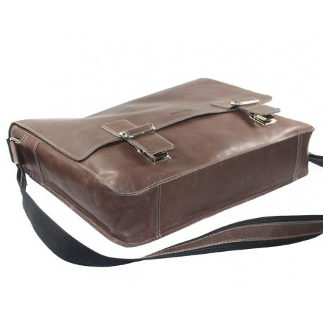 fb723f3c8bbda Skórzana torba z klapą na ramię na laptopa, A4, brązowa