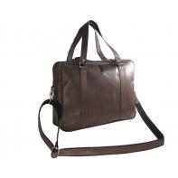 Skórzana torba na laptopa na ramię, A4, brązowa