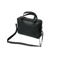 Skórzana torba na ramię na laptopa, A4, czarna