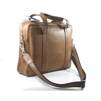 Skórzana torba na ramię na laptopa, A4, jasny brąz