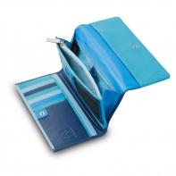 Skórzany duży portfel damski marki DuDu®, niebieski