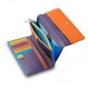 Skórzany duży portfel damski marki DuDu®, fioletowy + kolorowy środek