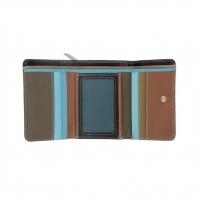 Skórzany mały portfel damski marki DuDu®, ciemny brąz + niebieski