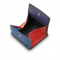 Mały skórzany portfel damski DuDu®, czarny + kolorowy środek