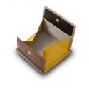 Mały skórzany portfel damski marki DuDu®, beżowy + żółty