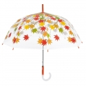 Głęboka przezroczysta parasolka w listki, czerwona