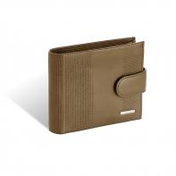 Męski poziomy skórzany portfel Valentini z zapięciem, brązowy