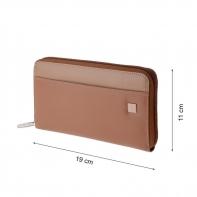 Skórzany portfel damski typu saszetka marki DuDu®, beżowy, oliwkowy