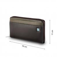 Skórzany portfel damski typu saszetka marki DuDu®, ciemny brąz, błękitny + inne