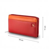 Skórzany portfel damski typu saszetka marki DuDu®, czerwony + inne