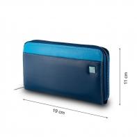 Skórzany portfel damski typu saszetka marki DuDu®, niebieski + błękitny
