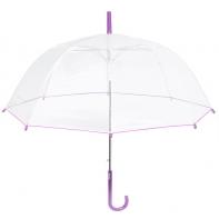 Głęboka przezroczysta parasolka, fioletowa lamówka
