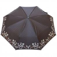 Satynowa automatyczna parasolka damska marki Parasol, szare listki