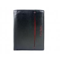 Męski portfel Pierre Cardin ze skóry naturalnej czarny z bordową wstawką