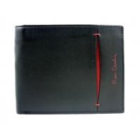 Portfel męski Pierre Cardin czarny z bordową wstawką, skóra naturalna
