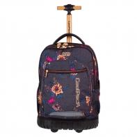 Plecak szkolny na kółkach CoolPack Swift Grey Denim Flowers 1070