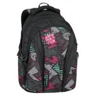 Plecak szkolny młodzieżowy Bagmaster trzykomorowy czarny z kolorowymi wstawkami