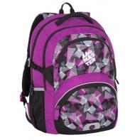 Lekki plecak szkolny Bagmaster w trójkąty i kwadraty, fioletowy