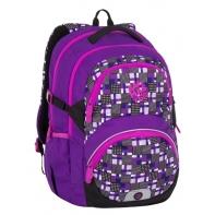 Lekki plecak szkolny Bagmaster w kratkę, fioletowy