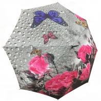 Automatyczny damski parasol w kwiaty i motyle