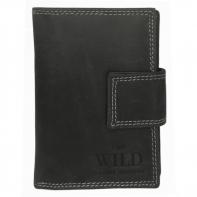 Praktyczny portfel męski Always Wild ze skóry nubukowej z zapięciem w kolorze czarnym