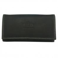 Długi, czarny portfel damski Always Wild N20 ze skóry nubukowej