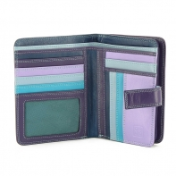 Skórzany portfel damski marki DuDu®, fiolet + niebieski