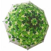 Jesienna przezroczysta parasolka w zielone liście