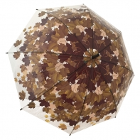 Jesienna przezroczysta parasolka w brązowe liście