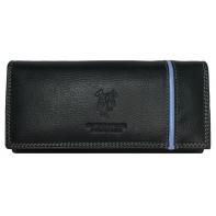 Elegancki portfel damski Harvey Miller czerwony z paskiem, skórzany