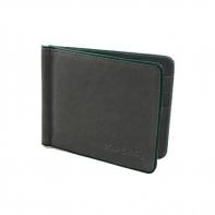 Banknotówka, mały portfel Pierre Cardin, czarny z zieloną obwódką, skóra