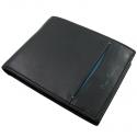 Męski portfel Pierre Cardin czarny z niebieską wstawką skóra naturalna